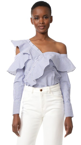 a2ebfc7fbcbb Self-Portrait Off-The-Shoulder Ruffled Striped Cotton-Poplin Top In Navy
