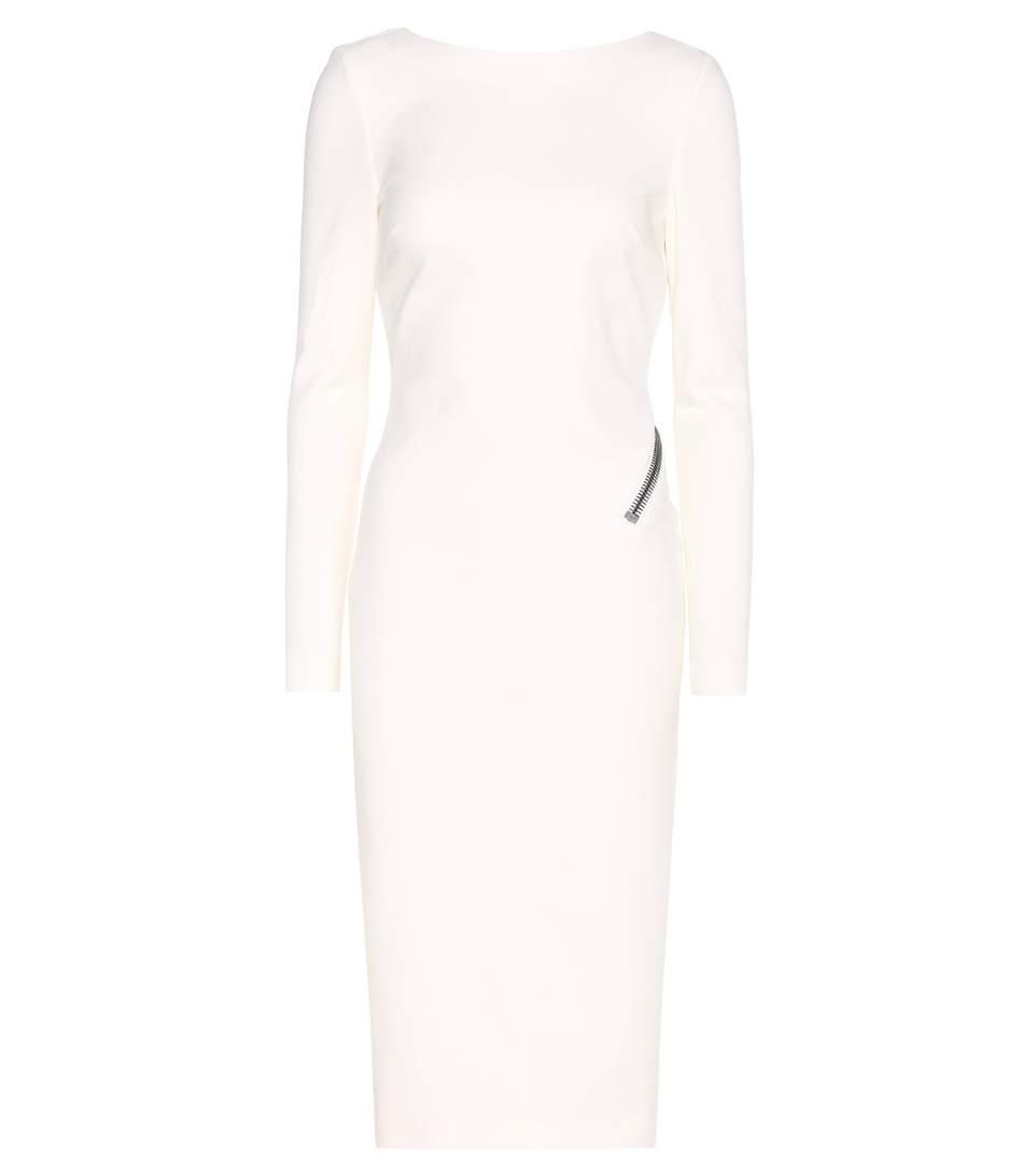 Tom Ford Long-sleeve Open-back Dress W/zip, Chalk