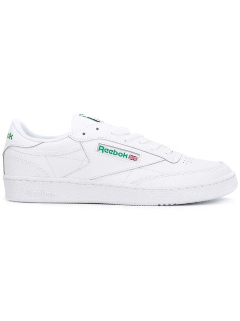 d2d864fc4 Reebok Club C 85 Archive White Leather Sneaker And Green Logoes. Farfetch