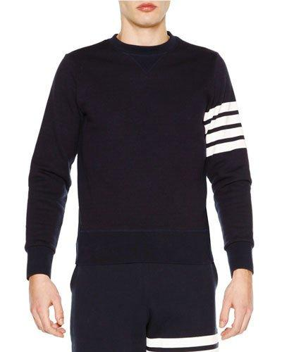 f2aa5814f4f6 Thom Browne Classic Crewneck Sweatshirt With Striped-Sleeve In Blue ...
