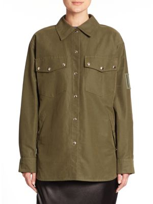 Alexander Wang Military Shirt Jacket In Green
