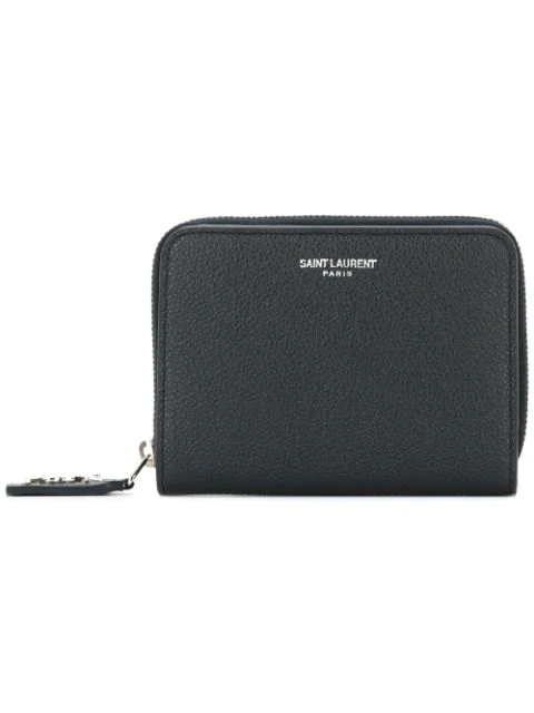 Saint Laurent Rive Gauche Compact Zip Around Wallet In Grained Leather In Blue