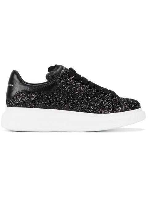 Alexander Mcqueen Glitter Leather Platform Sneakers In 1000Black