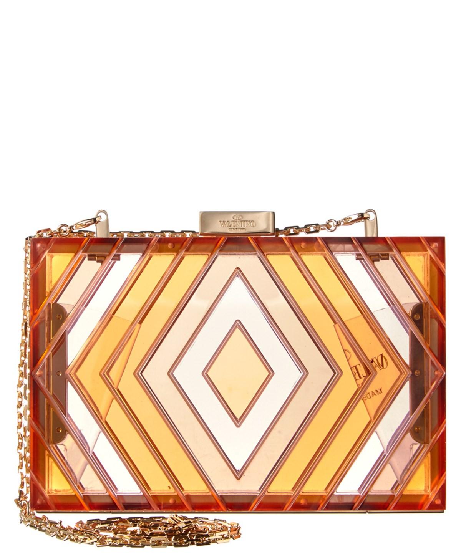 Valentino Garavani Valentino Native Couture  Acrylic Box Clutch In Red