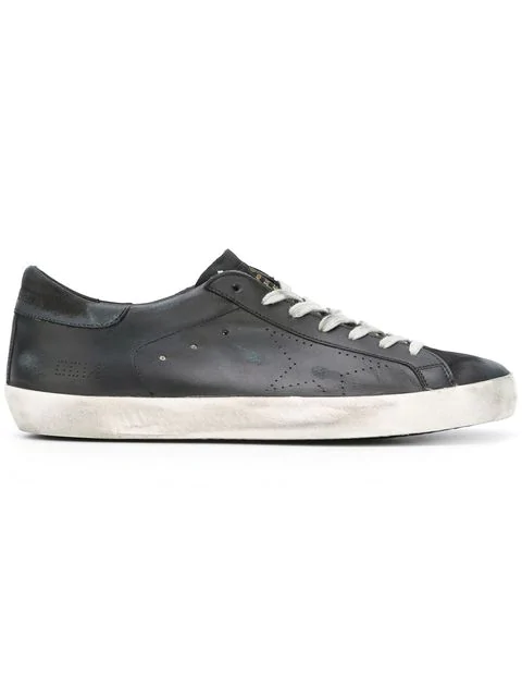 Golden Goose Unisex Superstar Distressed Leather Low-Top Sneakers In Black