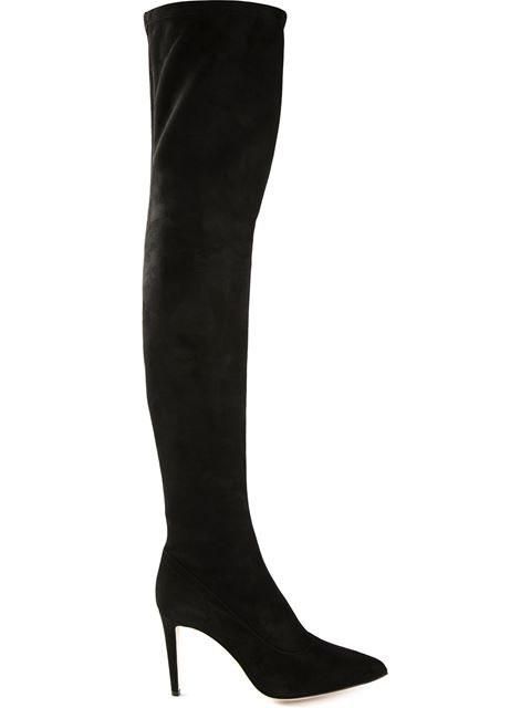 Sergio Rossi Women's Matrix Suede Over-the-knee Boots In Black