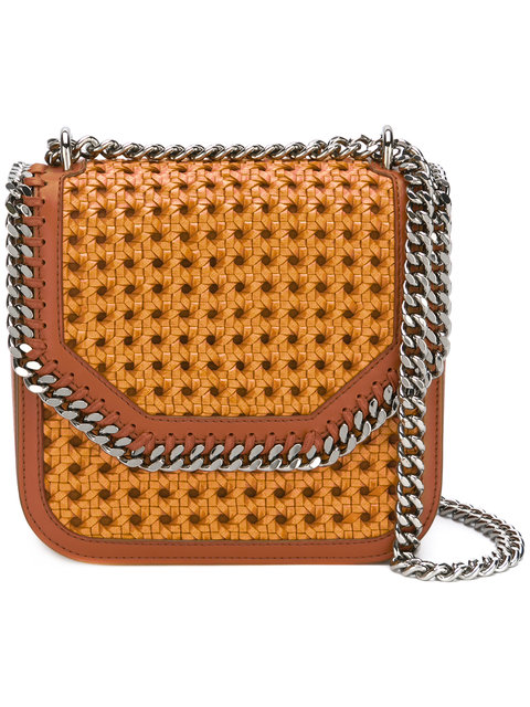 28f29a0c3a Stella Mccartney The Falabella Box Medium Woven Faux Leather Shoulder Bag  In Oak Moss