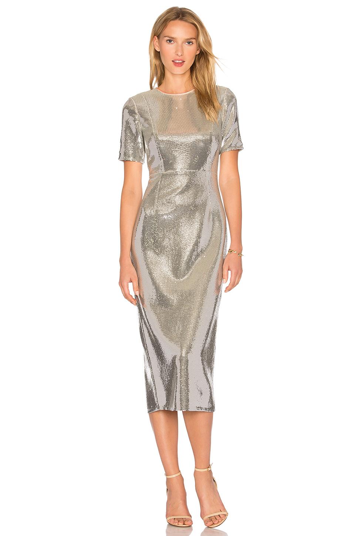 febd9b9a608 Diane Von Furstenberg Short Sleeve Tailored Sequin Bodycon Dress In Silver  Nectar