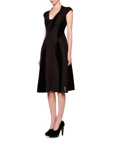 Giorgio Armani Cap-sleeve Velvet-inset Flare Dress In Black
