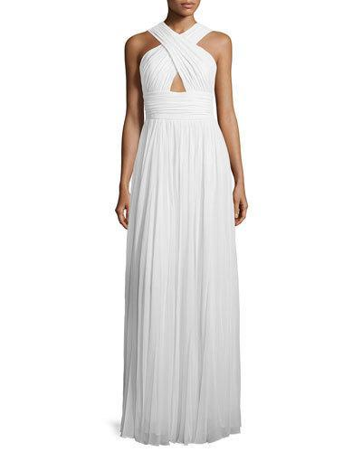 Michael Kors Cross-Front Cutout Gown, Optic White