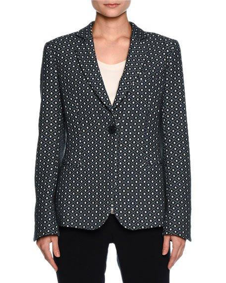 Giorgio Armani Single-breasted Dot-jacquard Jacket, Blue Ombre/off White In Blue Jacquard