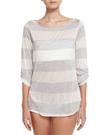 55b6bb019de2a Splendid Homespun Striped Scoop-Back Coverup Tunic, Grey | ModeSens