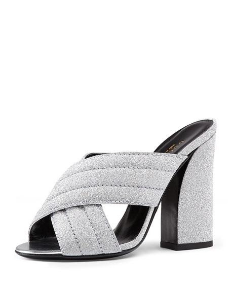 d0c1ead00eb Gucci Webby Metallic High Heel Slide Sandals In Silver