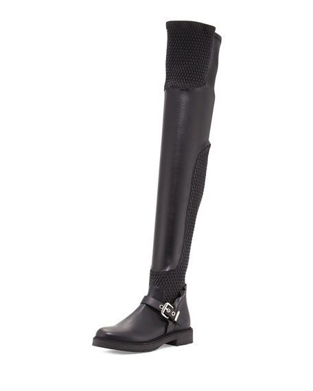 13daa91a SMOCKED LEATHER OVER-THE-KNEE BIKER BOOT, NERO