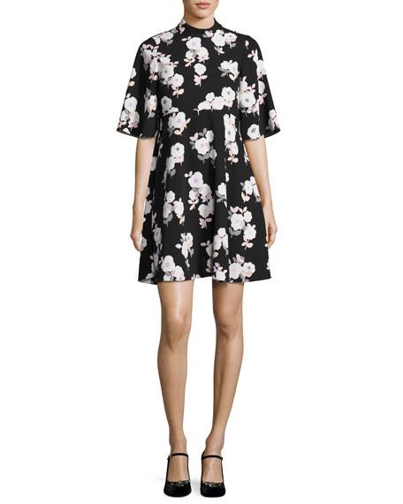Kate Spade Posy Floral Swing Dress, Black