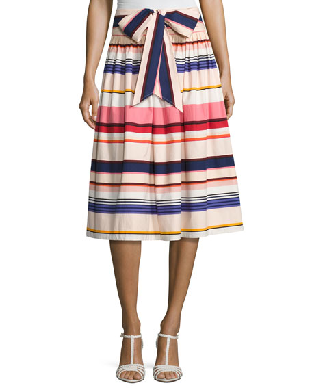 Kate Spade Berber Striped Stretch Poplin Midi Skirt, Multicolor