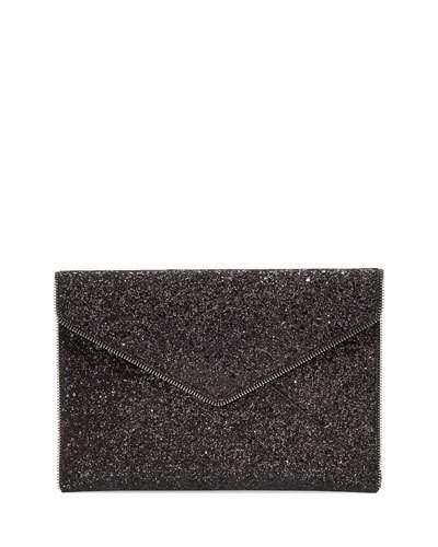 c866d9f06 Rebecca Minkoff Leo Glitter Clutch Bag, Black In Black Glitter ...