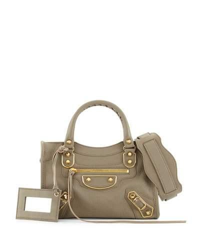 Balenciaga Edge City Mini Leather Satchel Bag, Light Gray In Light Grey