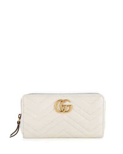 Gucci Gg Marmont Zip-around Wallet, White