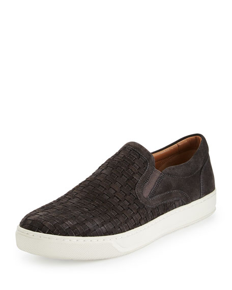 Vince Ace Woven Suede Slip-on Sneaker, Graphite In Graphite/midnight