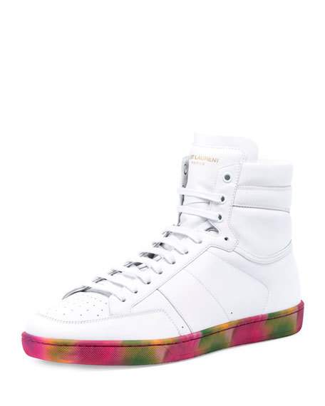 6c06b2b76e08c Saint Laurent Signature Court Classic Sl 10H Sneakers In Off White Leather  With Multicolor Tie