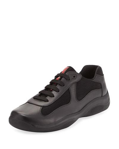 Prada America's Cup Leather & Textile Trainer Sneaker, Black