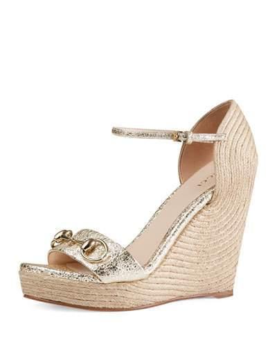 e3c98baa8 Gucci Carolina Metallic Leather Corded Wedge Sandals In Metallic Laminate  Leather