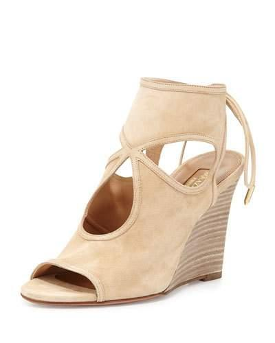 Aquazzura Sexy Thing Suede 85mm Wedge Sandal, Nude