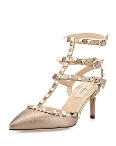 Valentino Rockstud Leather 65mm Pump, Sasso/poudre
