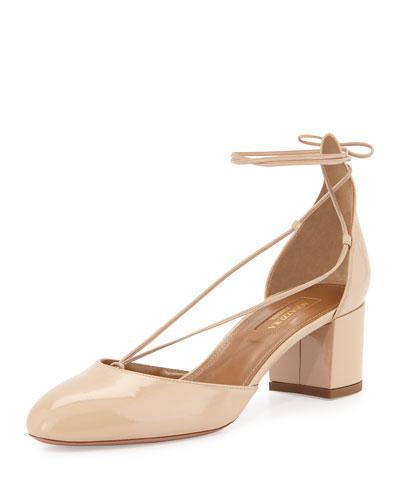 Aquazzura 'alexa' Patent Leather Ankle Tie Pumps In Nude