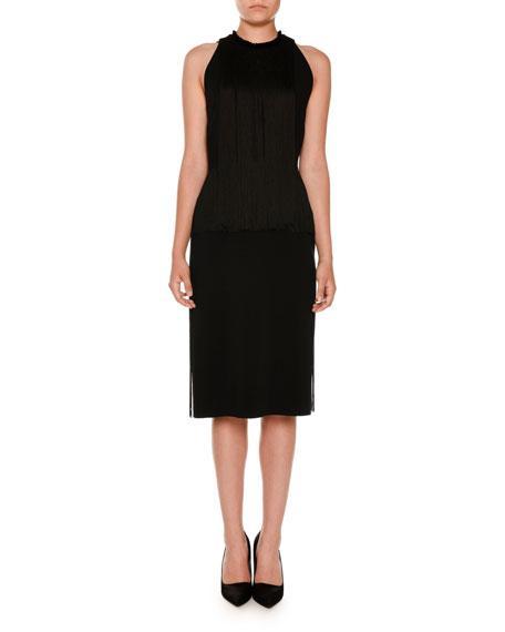 Stella Mccartney Sleeveless Fringed Pencil Dress, Black