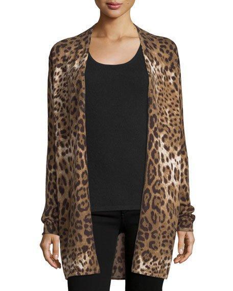 0bd244e4ee85e Neiman Marcus Leopard-Print Open Cashmere Cardigan In Sand Multi ...