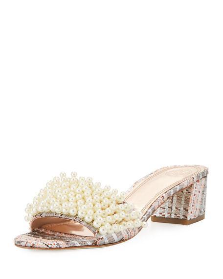 491af978deb4 Tory Burch Tatiana Pearly Tweed Slide Sandal