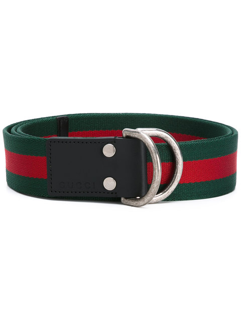 5904ec116f9 Gucci D-Ring Striped Canvas Belt In 1060 Green Red. Farfetch