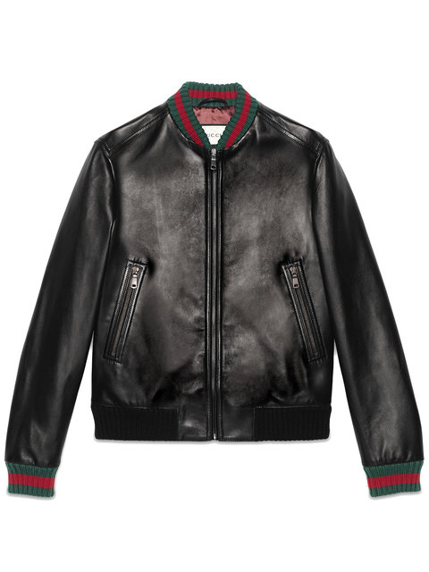 Gucci Jacket Lambskin Bomber Jacket With Virgin Wool Finishes And Web Detail In Black