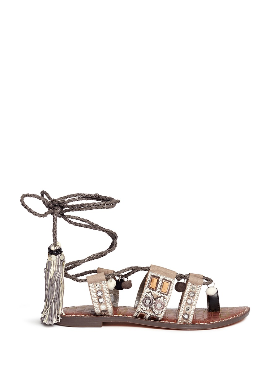 7f8f208b15084d Sam Edelman Gretchen Embroidered Lace-Up Flat Sandal