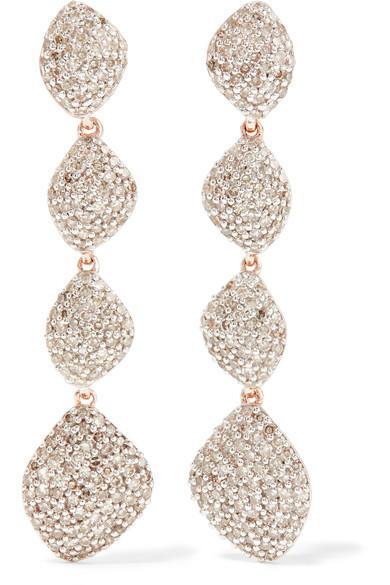 Monica Vinader Nura Rose Gold Vermeil Diamond Earrings In Nero
