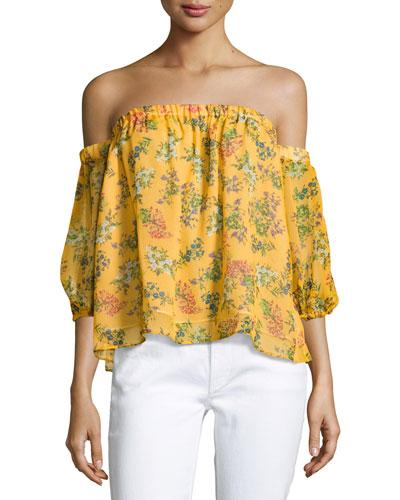 eccbb945c6feb Ella Moss Poetic Floral Off-The-Shoulder Silk Blouse