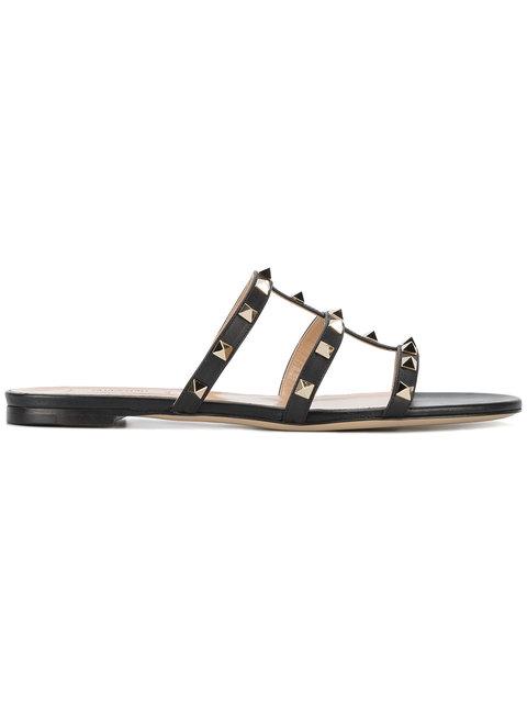 Valentino Garavani 'rockstud' Caged Leather Slide Sandals In Black
