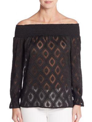 Rebecca Minkoff Atmosphere Off-the-shoulder Jacquard Top In Black