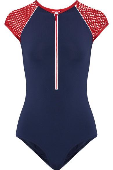 3fe41629338f3 Melissa Odabash Honolua Mesh-Trimmed Swimsuit In Navy | ModeSens