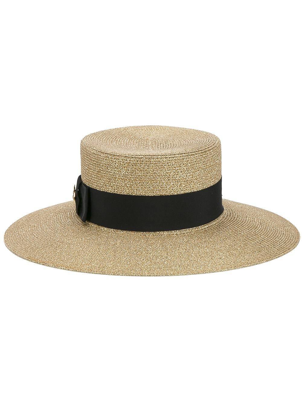 4baa2706483 Gucci Grosgrain-Trimmed Glittered Straw Hat In Gold