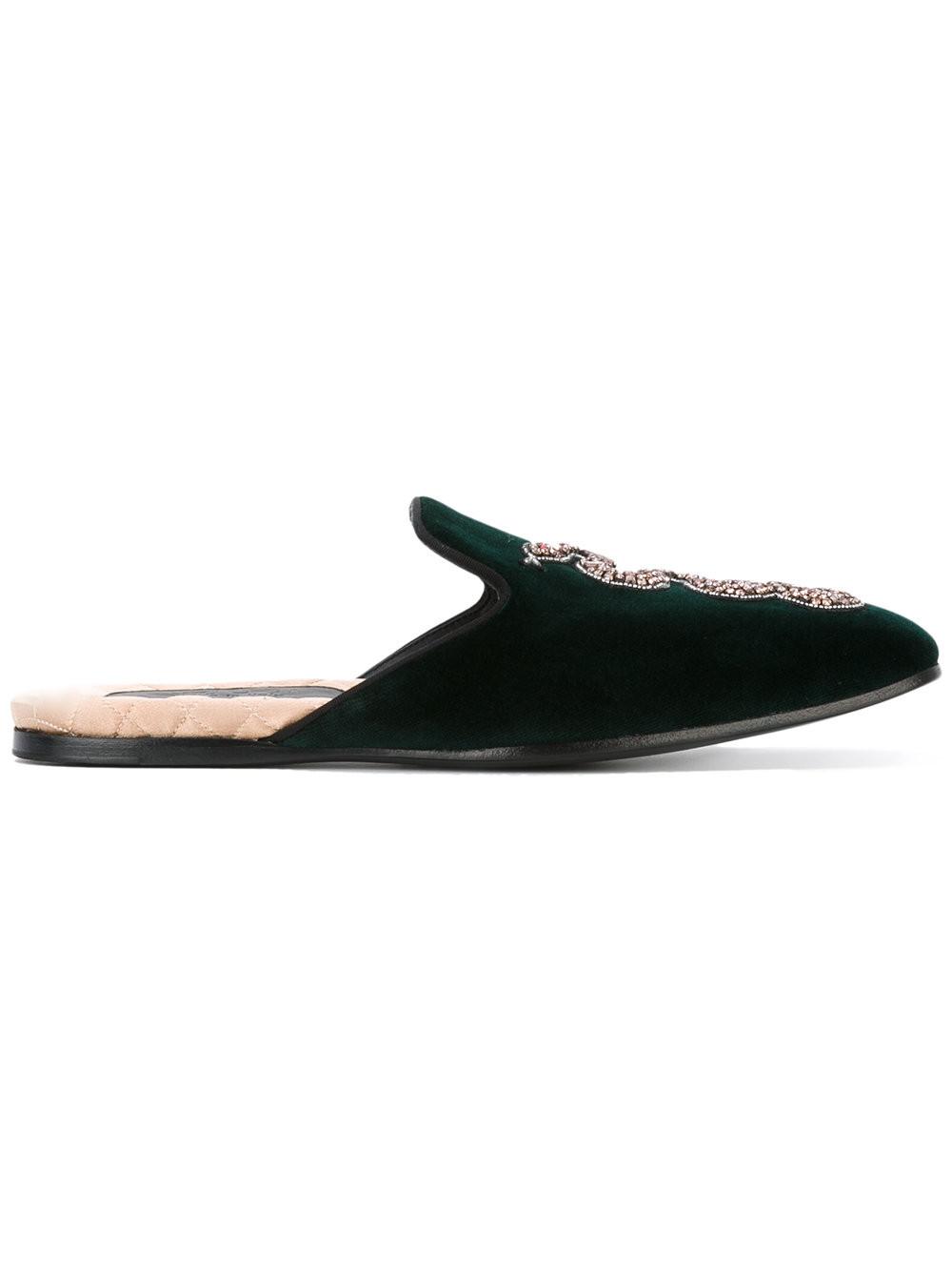 6a57163bf Gucci Velvet Evening Slippers W/ Beaded Snake In Green | ModeSens