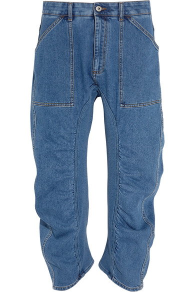Stella Mccartney Xenia Cotton Blend-paneled High-rise Tapered Jeans In Blue