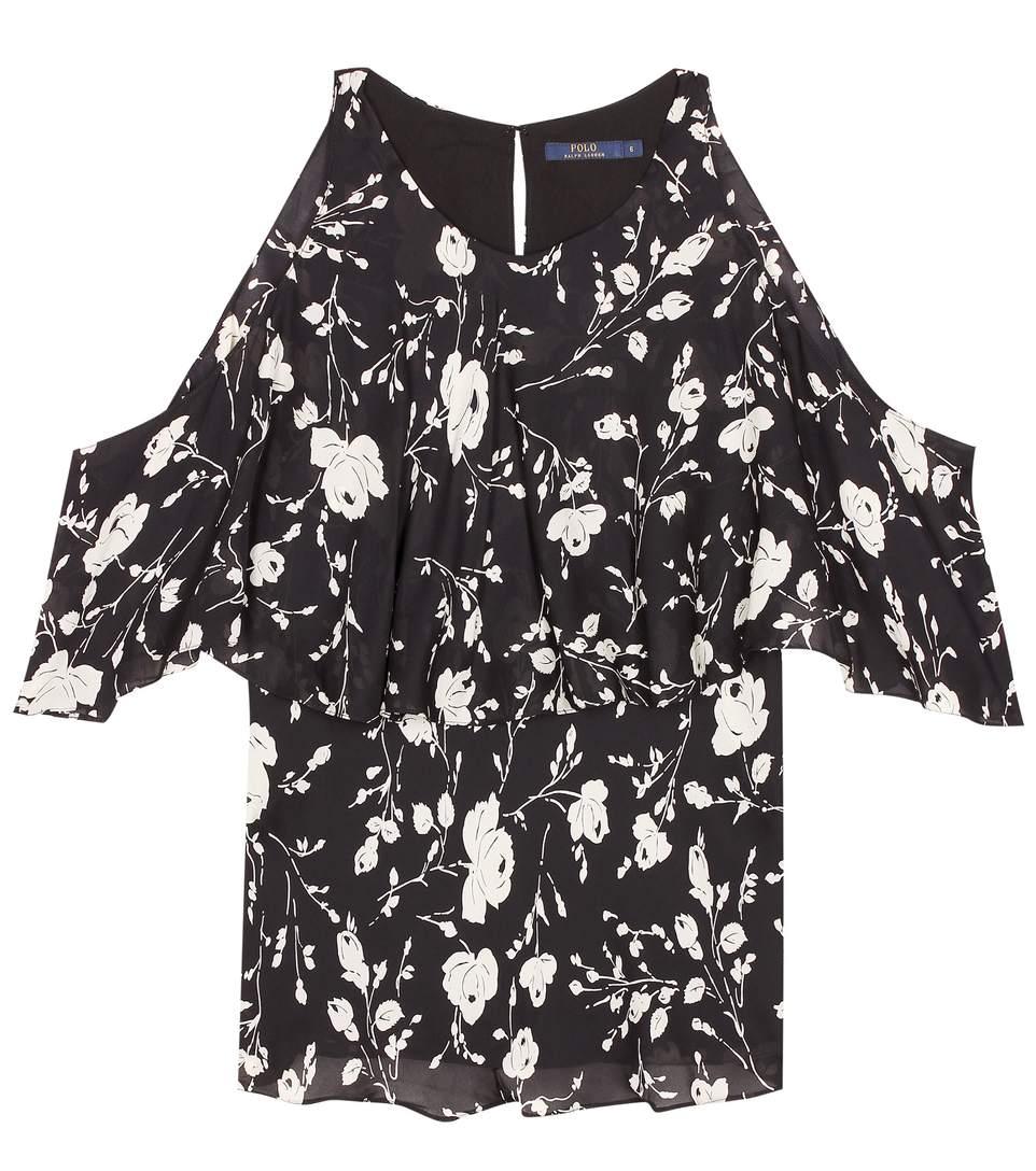f0d3d8b124eb20 Polo Ralph Lauren Cold-Shoulder Silk Floral-Print Blouse In Black ...