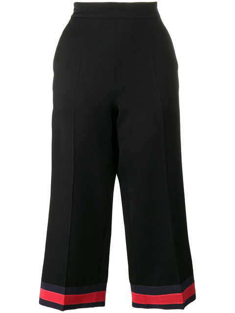 Gucci Viscose Pajama Pant With Web In Black