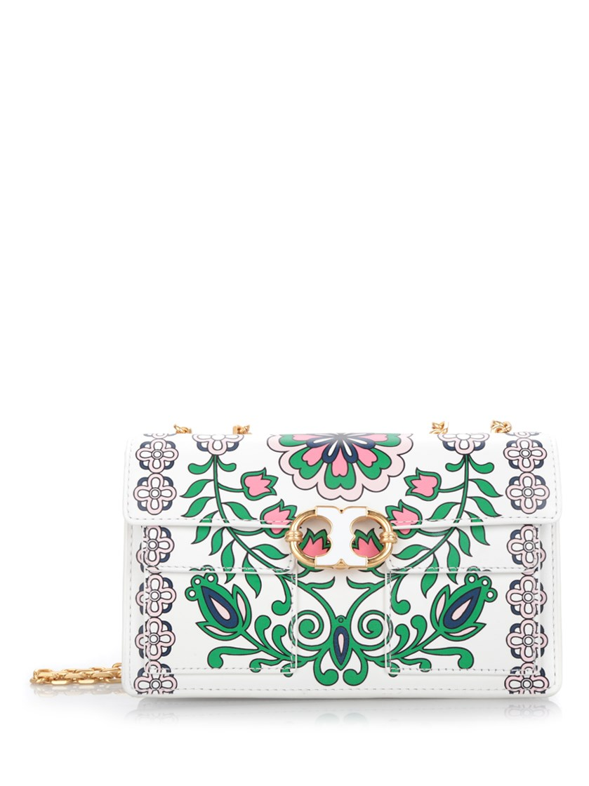 381be5a0764 Tory Burch Gemini Link Garden Party Printed Leather Chain Shoulder Bag In Garden  Party Green