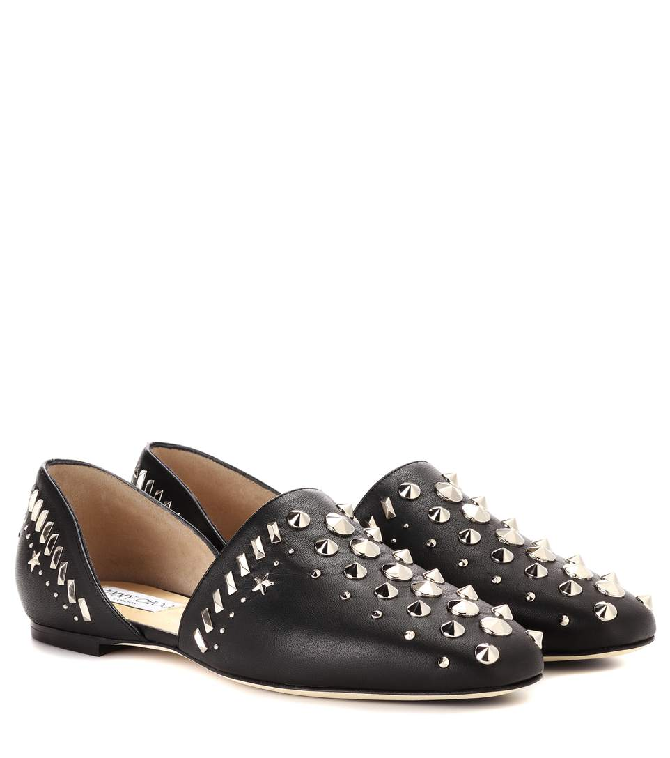 Jimmy Choo Globe Flat Black Nappa Flats With Punk Studs