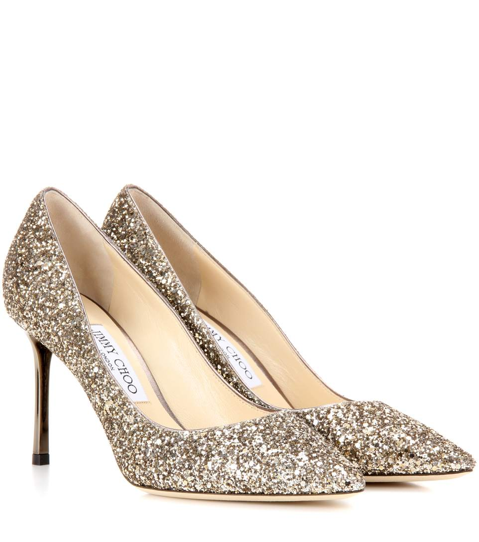 831856339a2 Jimmy Choo Romy 85 Antique Gold Coarse Glitter Fabric Pointy Toe Pumps