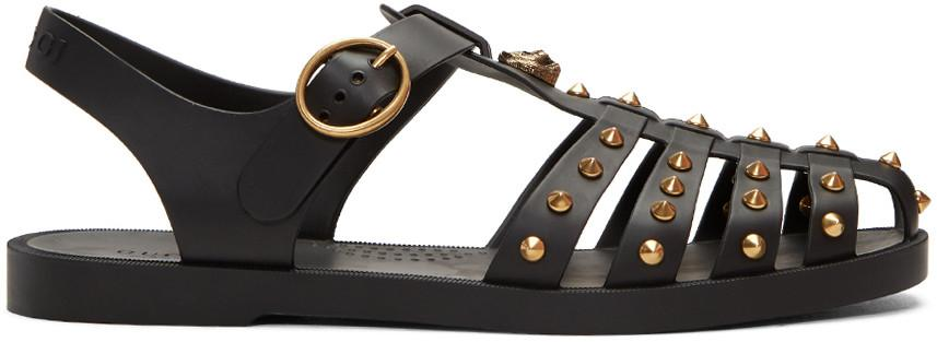 7c9829eed Gucci Studded Gladiator Rubber Sandals, Black   ModeSens